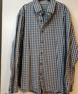 Tasso Elba Plaid gray and blue button up X…